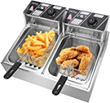 12L Electric Countertop Deep Fryer, 5000W Dual Tank Kitchen Frying Machine,