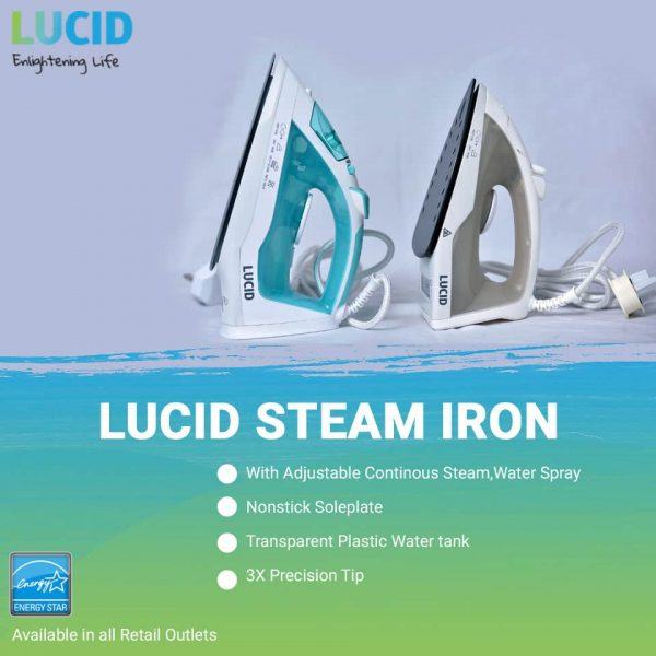Lucid Steam Iron, 1.7 Litres - EC3001A-GS - White, Blue