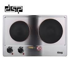 DSP Electric Cast-Iron Double Burner Countertop Hot Plate Stainless Steel Buffet