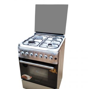 BlueFlame cooker S6031EFRP L 60x60cm 3 gas burners and 1electric hot plate with electric oven inox – stainless