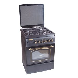 Blueflame rustic cooker T6031ERF – B 60 X 60 cm 3 gas burners and 1 hot plate with electric oven, black in color